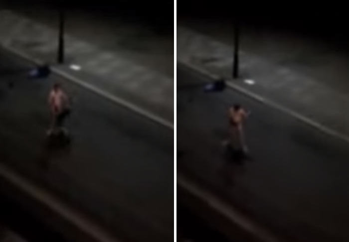car 1 Naked Drunk Man Tries To Fight Cars, Fails Miserably