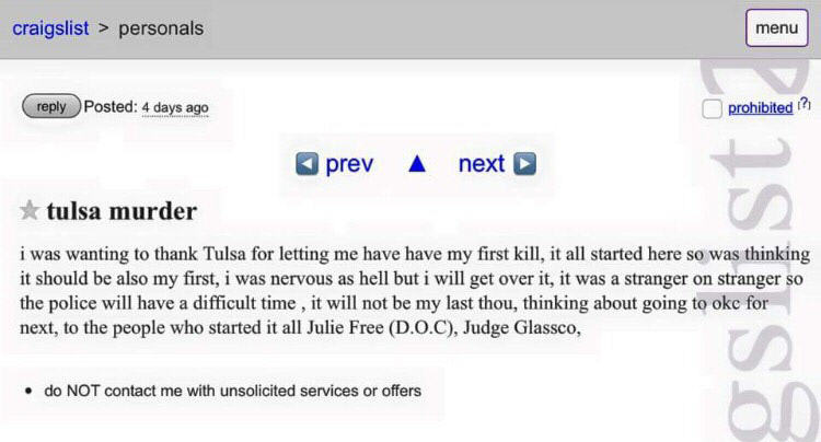 nNoUT3v 2 Murderer Makes Sinister Post On Craigslist Thanking City For First Kill