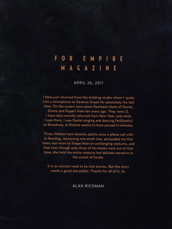rickmanletter1 Alan Rickmans Heartfelt Goodbye To Snape And Harry Potter Fans