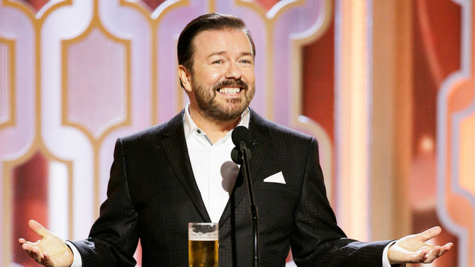Everyone Is Talking About Ricky Gervais Golden Globes Antics ricky gervais golden globes 2016 2