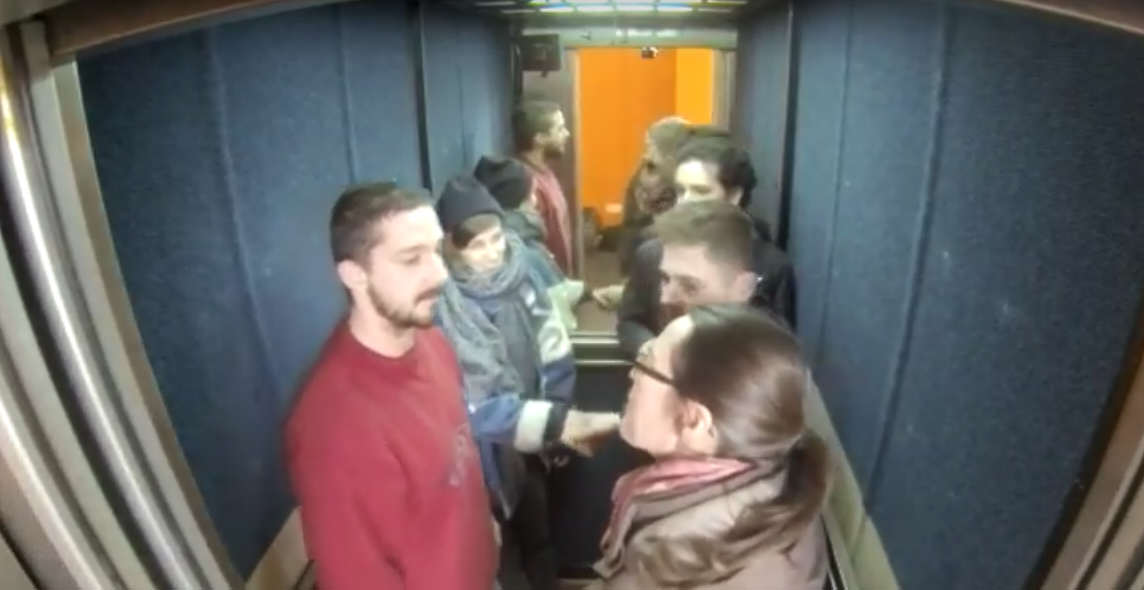2 2 Shia LaBeouf Is Currently Riding Up And Down An Elevator In The UK