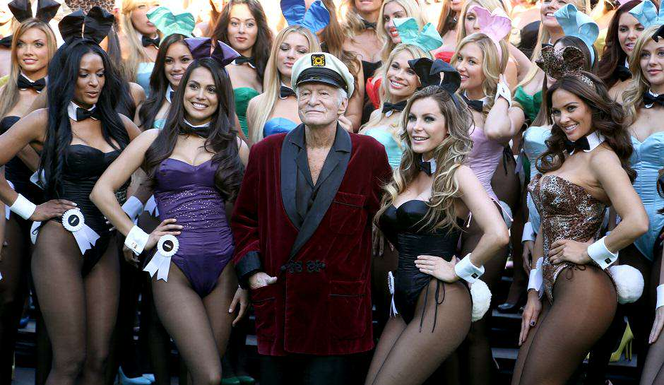 Hugh Hefner and Playboy Bunnies Playboy Reveals The First Issue Of Its New Look Magazine