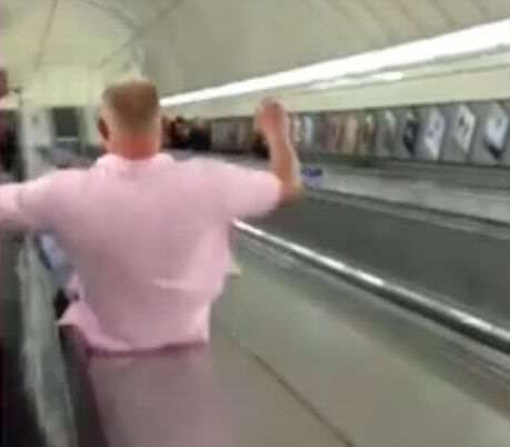 Man uses tube escalator as a slide 1 Man Slides Down Tube Escalator, Instantly Regrets It