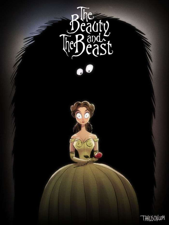 beautyandthebeast Delightfully Creepy Reimaginings Of Disney Classics As Tim Burton Films