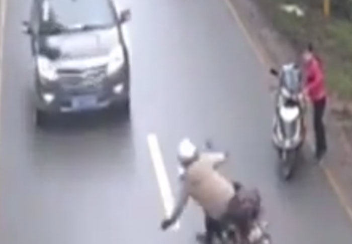 bike1 1 Motorcyclist Survives Stomach Churning Head On Collision With Van