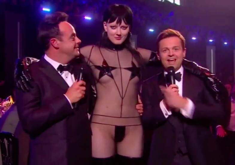 brits222 Nearly Naked Model Surprises Ant And Dec During Brit Awards