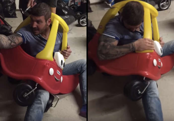 car 1 Man Gets Stuck In Kiddie Car, Because Alcohol