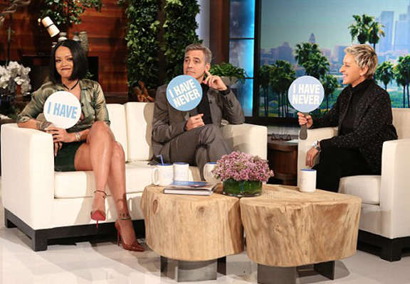 never rihanna WEB Rihanna And George Clooney Play 'Never Have I Ever' In Revealing Video