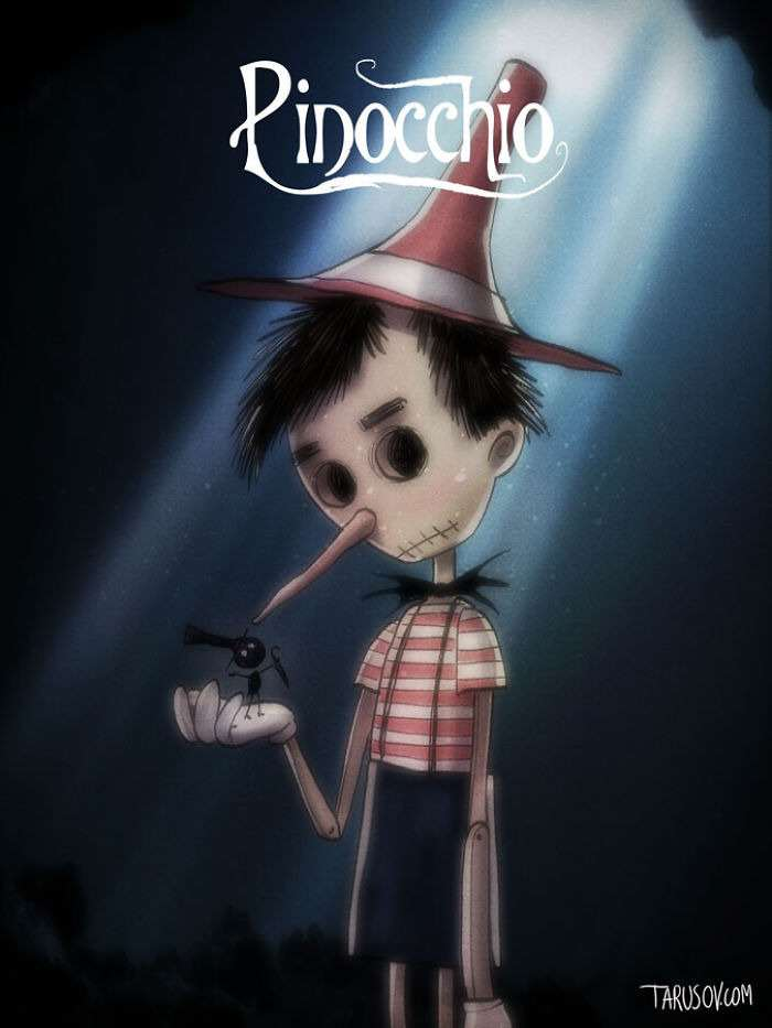 pinocchio Delightfully Creepy Reimaginings Of Disney Classics As Tim Burton Films