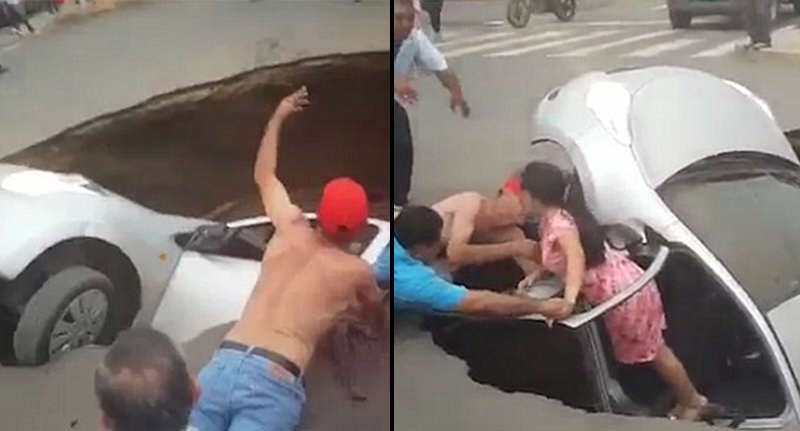 sinkhole FB Family Of Three Rescued By Passers By As Car Swallowed By Massive Sinkhole