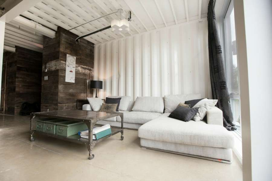This Woman Built An Insanely Cool Home From A Shipping Container livingroom