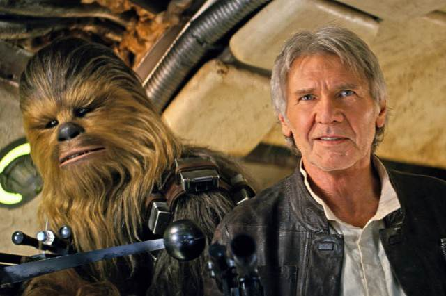 Harrison Fords Auctioning Off Han Solos Jacket For A Very Good Cause star wars force awakens han solo chewbacca 640x426