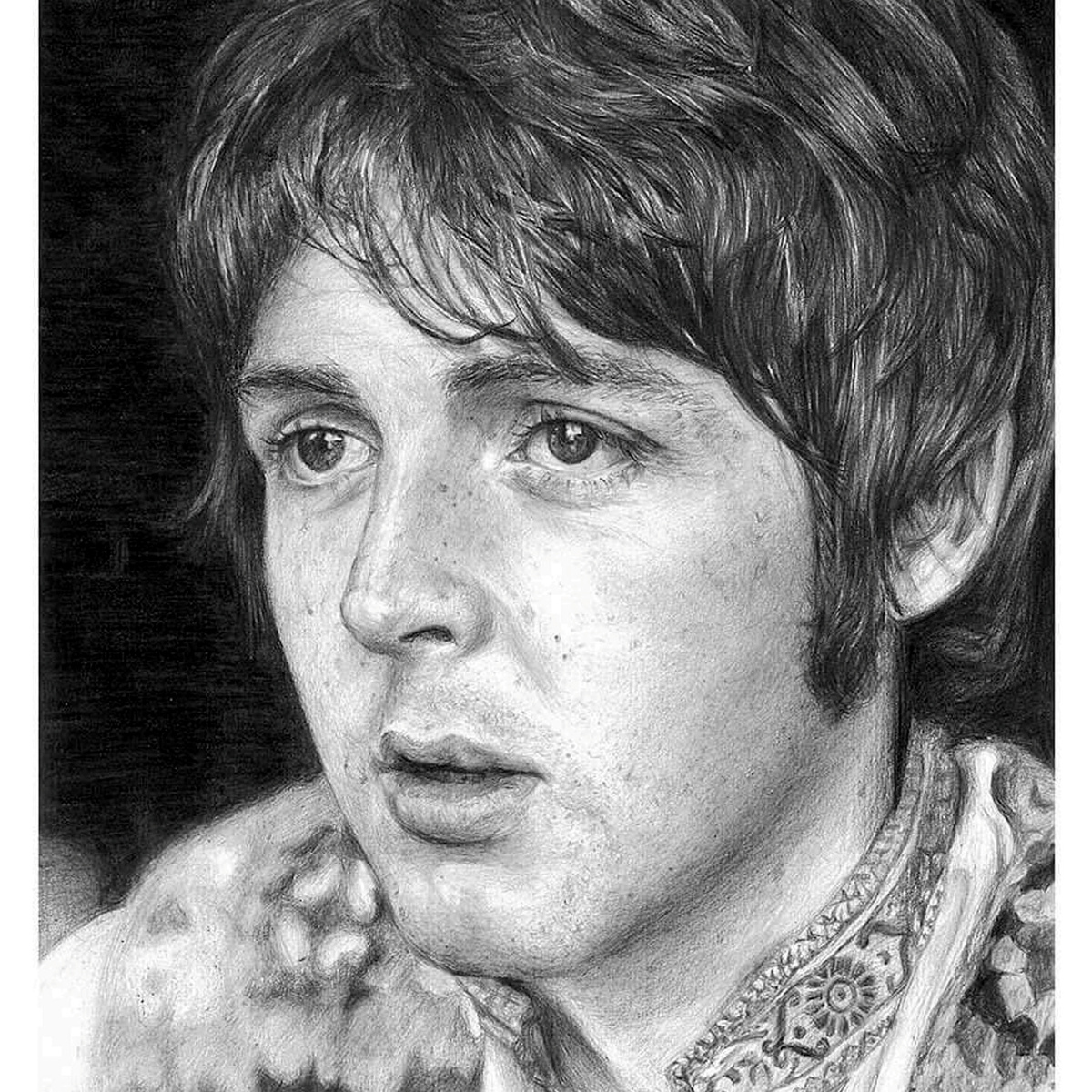 SWNS BEATLES DRAWINGS 01 Former Model Now Creates Incredible Photo Real Portraits Using Pencil