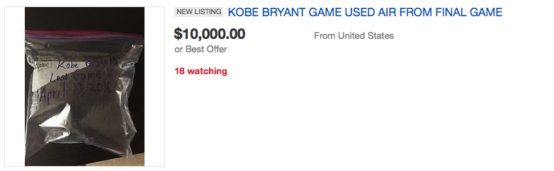 Screen Shot 2016 04 18 at 15.10.54 People Are Seriously Bidding On Air From Kobe Bryants Last Game