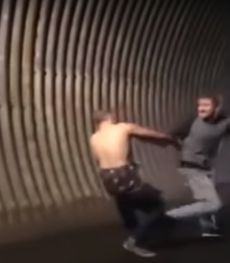 Tunnel Brawl Ends In Spinning Backfist Punch KO In Brutal Video fight