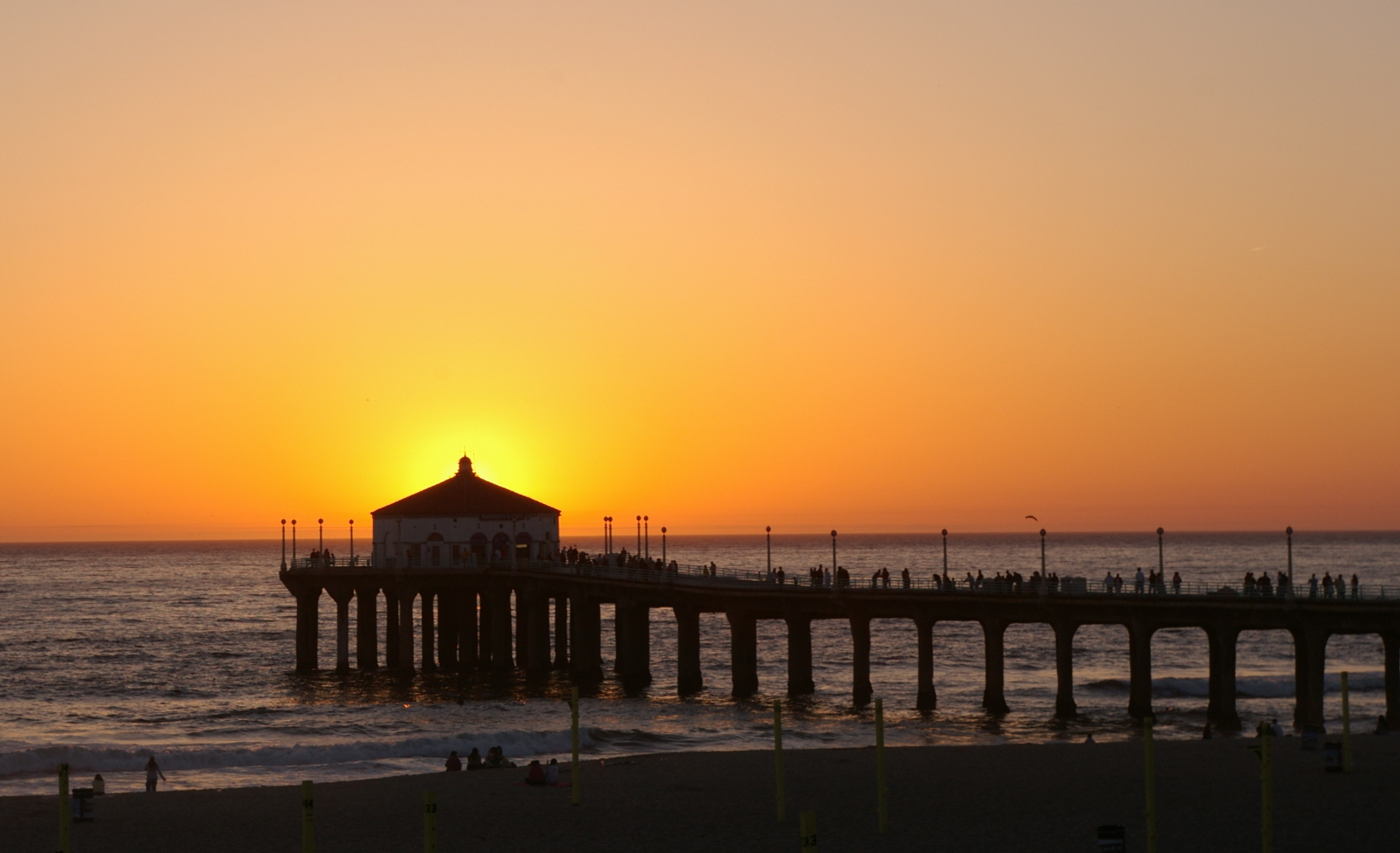 Manhattan Beach Pier at sunset with the sun behind the roundhouse at piers end Gang Member Found Washed Up On Brooklyn Beach Wearing Cement Shoes