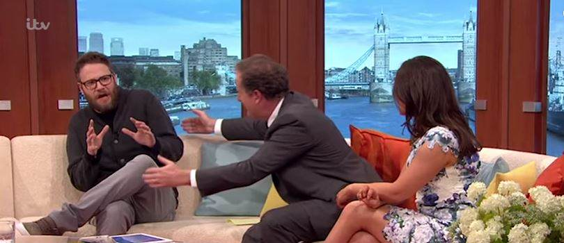 vid1 Seth Rogens Reaction To Piers Morgan Hug Is Priceless