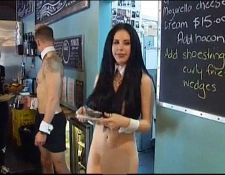 waitress2 Naked Waitress Flashes Vagina On Live TV, Isnt Really Bothered