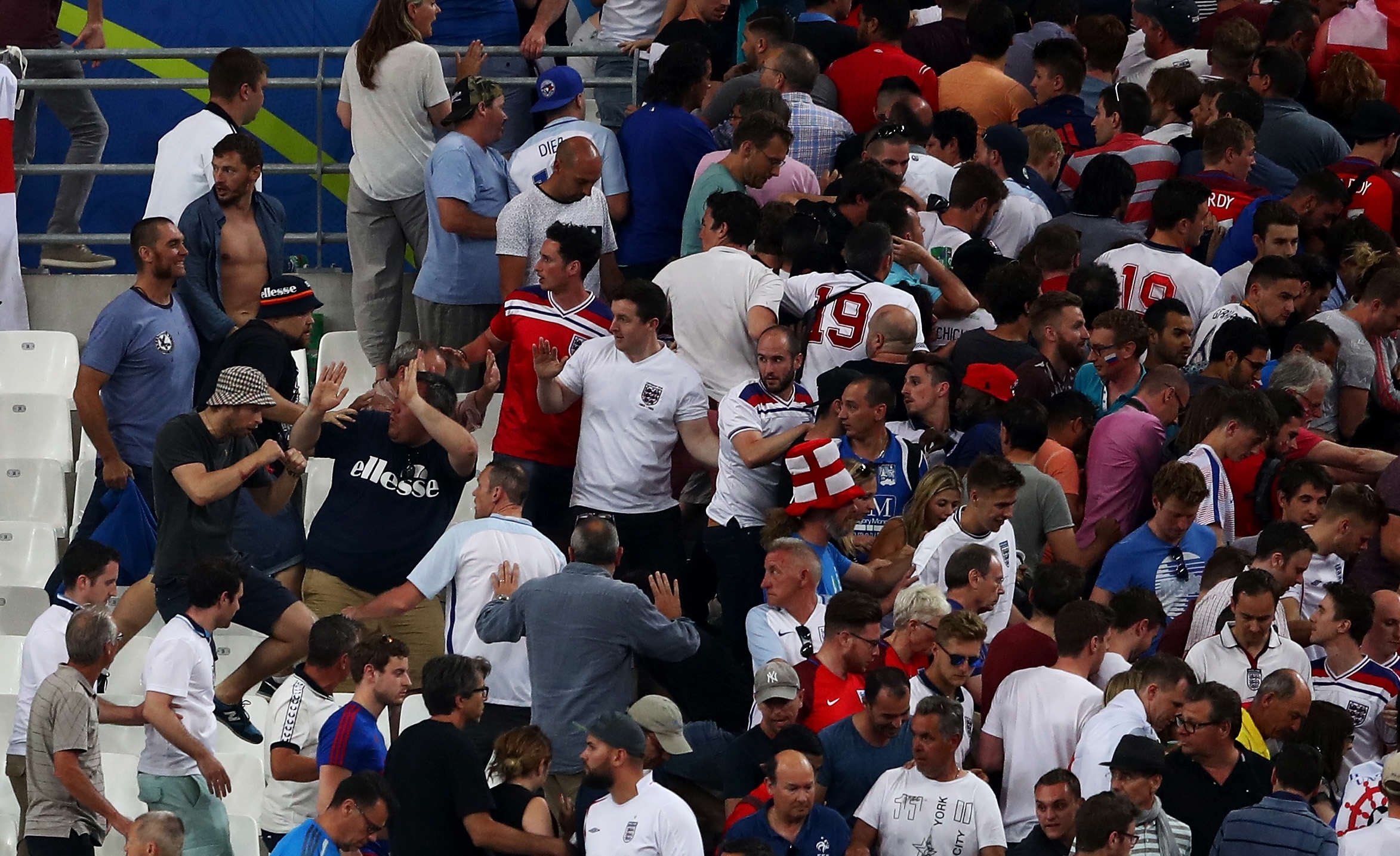 Russian FA Charged, As Photos Show Disabled England Fans Hiding From Violence euro16fight33