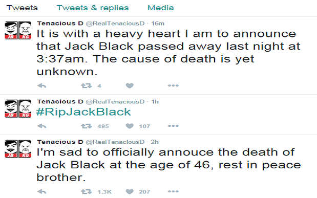 Sinister Hacker Behind Jack Black Death Hoax Holds Tenacious D To Ransom jack