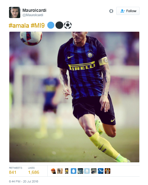 icardi tweet 2 Arsenals Summer Goes From Bad To Worse After Another Striker Rejection