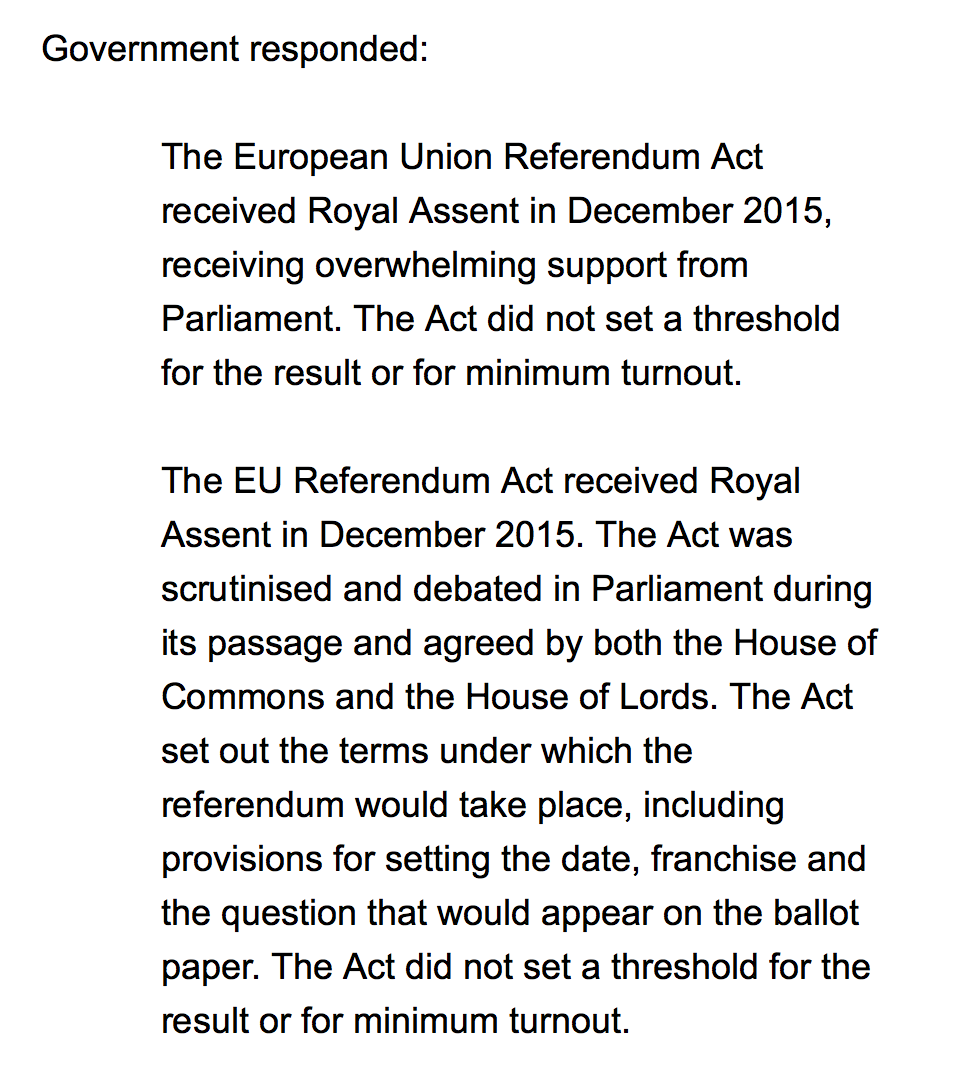 response1 The Government Responds To Calls For A Second EU Referendum