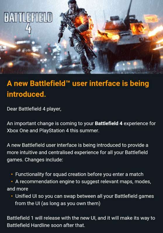 bf4 email Battlefield 4 And Hardline Getting Big Changes This Summer