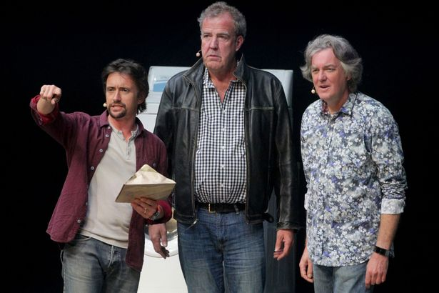 Richard Hammond Jeremy Clarkson and James May during the opening night of Clarkson Hammond and May Live at the Odyssey The Grand Tour Has Finally Been Given A Release Date