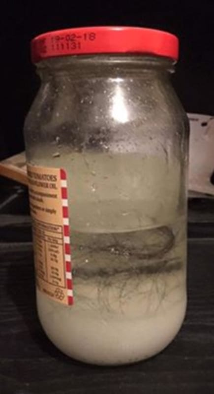 Woman Finds Really Creepy Shrine To Her Under Partners Dads Bed 50253UNILAD imageoptim 3AC3042E00000578 3973266 One jar was filled with clumps of her hair floating in murky whi a 10 1480145358092