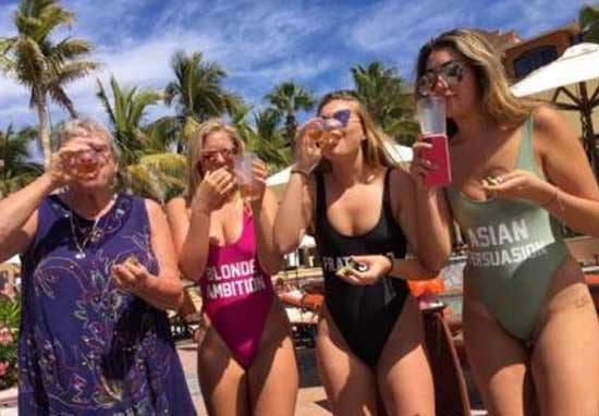 Grandma Out Downing Shots And Partying With College Girls At Spring Break